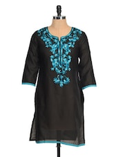 Black Kurta With Blue Embroidery - RIYA