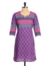 Purple Three Quarter Sleeved Printed Kurta - RIYA