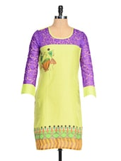 Lime Green Kurta With Purple Net Sleeves - RIYA