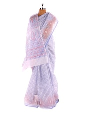 White And Light Violet Cotton Saree - Fabdeal