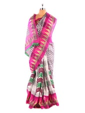 Pink And White Bhagalpuri Silk Saree - Fabdeal