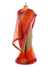 Beige Base Saree With Orange And Red Border - Fabdeal