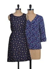 Set Of Hearts Top And Blue Bird-print Dress - @ 499