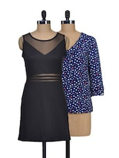Set Of One Heart-print Top And Solid Black Dress - @ 499