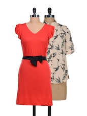 Set Of Cream Bats Print Top And Solid Red Dress - @ 499