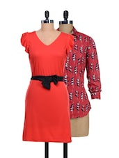 Set Of Red Printed Top And Solid Red Dress - @ 499