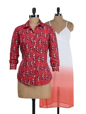 Set Of Ombre Maxi Dress & Printed Shirt - @ 499