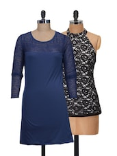 Set Of Blue Full-sleeved Dress And Black Halter Neck Top - @ 499