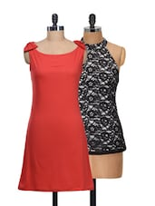 Set Of Solid Red Dress And Black Halter Dress - @ 499