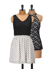 Lace And Polka Top And Dress Set - @ 499