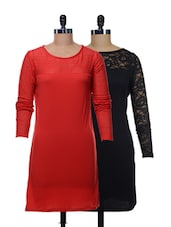 Set Of Solid Black And Red Dress - @ 499