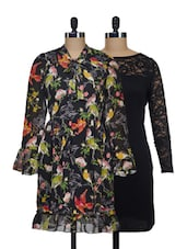 Set Of A Solid Black Dress And A Black Printed Dress - @ 499