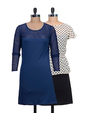 Set Of Polka Dotted Dress And Solid Blue Dress - @ 499