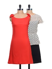 Set Of Polka Dotted Dress And Solid Red Dress - @ 499