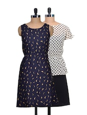 Set Of Polka Dotted Dress And Navy Bird Print Dress - @ 499