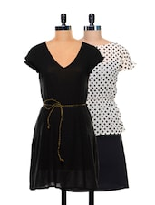 Set Of Polka Dotted Dress And A Solid Black Dress - @ 499