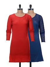 Set Of Solid Blue And Red Dress - @ 499
