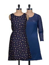 Set Of Solid Blue Dress And Navy Bird Print Dress - @ 499