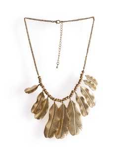 Beaded Necklace With Golden Leaves - Tribal Zone