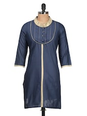 Solid Navy Blue Cotton Kurti With Gold Collar - M MERI