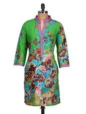 Bright Green Floral Print Cotton Kurti - M MERI