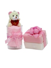 Teddy With Soap And Pink Towel Combo Gift Set - Gifts By Meeta