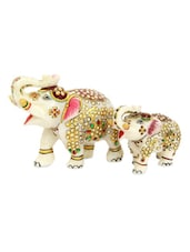 Meenakari Marble Elephant - Gifts By Meeta