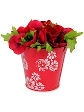 Artificial Flowers Arrangement In Red Vase - Gifts By Meeta