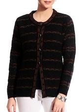 Patterned Black Woollen Cardigan - TAB91