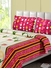 Pink And White Printed Double Bed Sheet, 2 Pillow Covers - Desi Connection