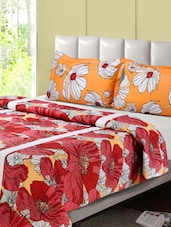 Red And Orange Printed Double Bed Sheet, 2 Pillow Covers - Desi Connection