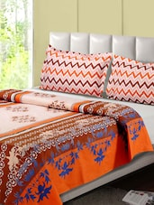 Orange And Rust Printed Double Bed Sheet, 2 Pillow Covers - Desi Connection