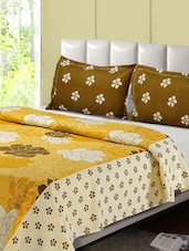 Yellow And Brown Printed Double Bed Sheet, 2 Pillow Covers - Desi Connection