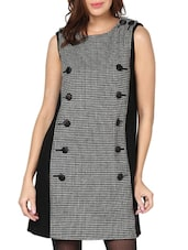 Monochrome Houndstooth Print Dress - L'elegantae
