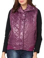 Quilted Purple Sleeveless Bomber Jacket - L'elegantae