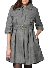 Solid Grey Trench Coat - L'elegantae