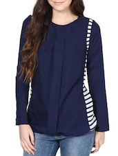 Casual Navy Blue Top With Stripes - L'elegantae