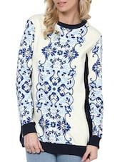 White And Blue Printed Sweat Shirt - L'elegantae