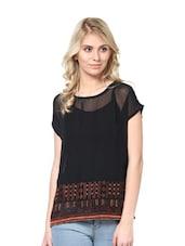 Black Short-Sleeved Embroidered Top - L'elegantae