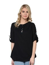 Solid Black Top With Button Embellishments - L'elegantae