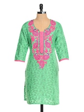 Green Kurta With Pink Embroidery - RIYA
