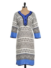 White And Black Printed Kurta With Blue Hem - Awesome