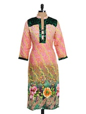 Pink Base Long Kurta With Multi-colored Prints - Awesome