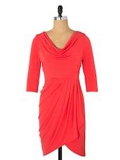 Chic Gathers Stylish Pink Cowl Dress - Avirate