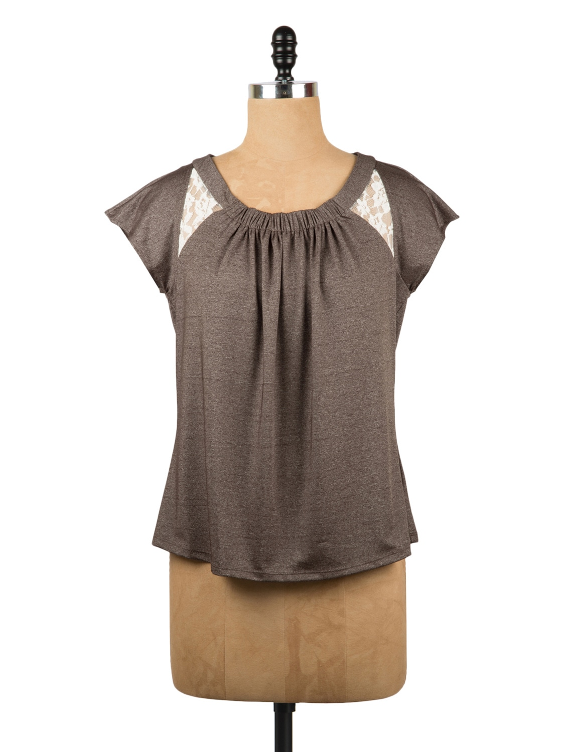 Brown Gathers Top With Lace Inserts - Avirate