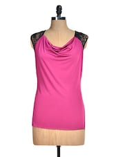 Solid Pink Top With Black Lace - Avirate