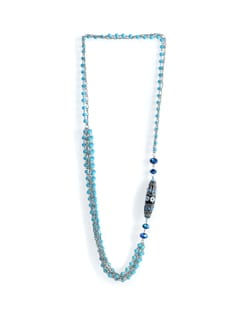 Long Necklace With Blue Beads - Tribal Zone
