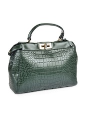 Forest Green Textured Leatherette Bag - Alonzo