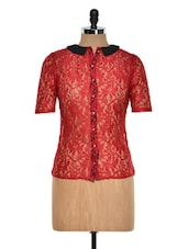 Red Net Top With Peterpan Collar - STREET 9