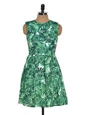 Leaf Print Pleated Dress - STREET 9